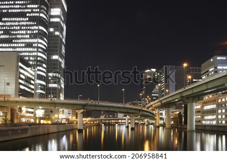 Night View Of Osaka ,Tosabori - stock photo