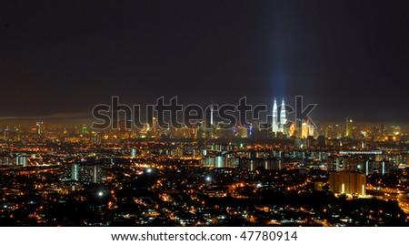 Night view of overall Kuala Lumpur city center - stock photo