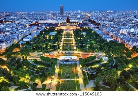 Night view of Paris from the Eiffel Tower. - stock photo