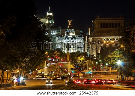 Night view of Plaza de Cibeles in Madrid, Spain