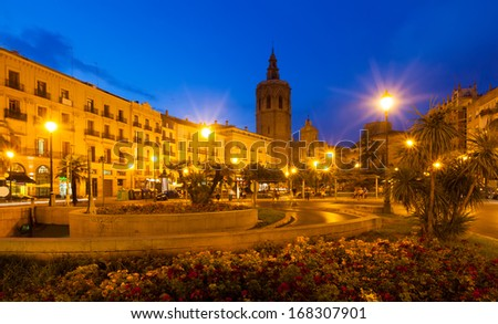 Night view of Plaza de la Reina. Valencia, Spain    - stock photo