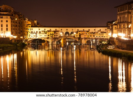 Night view of Ponte Vecchio in Florence, Italy