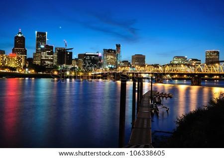 Night view of  portland - stock photo