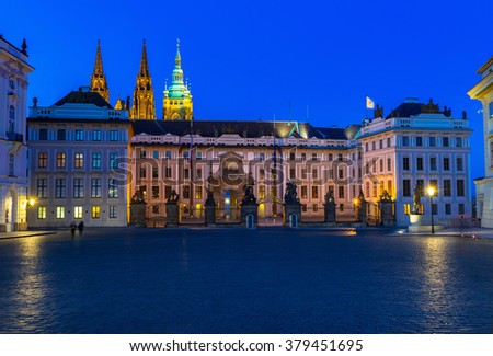 Night view of Prague Castle and Hradcany square in Prague, Czech Republic.