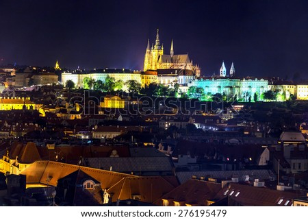 Night view of Prague: castle and St. Vitus - stock photo