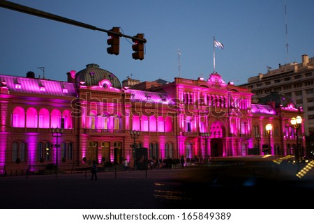 Night view of Presidential palace,Casa Rosada,Pink House in Buenos Aires, Argentina - stock photo