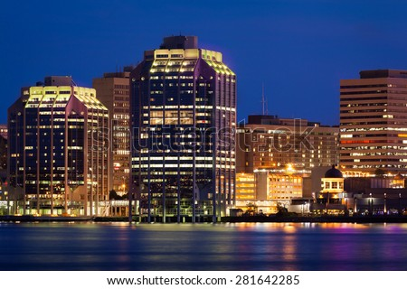 Night view of Purdy's Wharf and surrounding buildings in Halifax, Nova Scotia, Canada - stock photo
