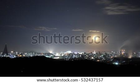 Pyongyang Skyline At Night