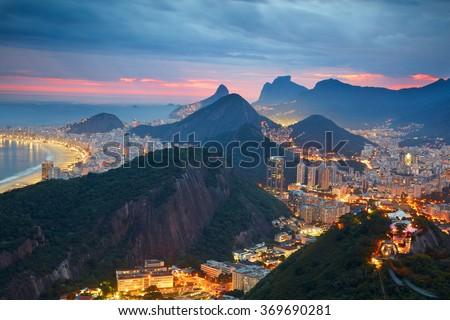 Night view of Rio de Janeiro, Brazil - stock photo