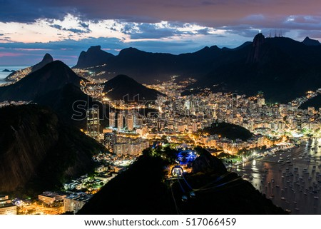 Night View of Rio de Janeiro City From the Sugarloaf Mountain