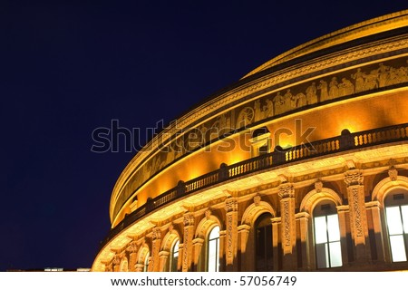 Night view of Royal Albert Hall in London