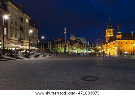 Night view of Royal Castle and Old Town in Warsaw, Poland