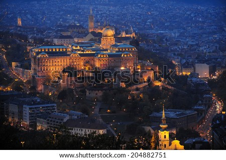 Night view of Royal Palace of Budapest (Buda Castle), historical castle and palace complex of the Hungarian kings in Budapest - stock photo