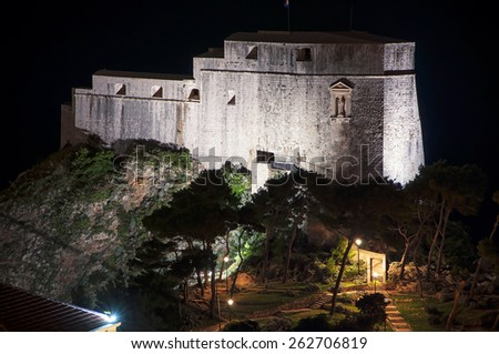 Night view of Saint Lawrence fortress Lovrijenac, Dubrovnik, Croatia - stock photo