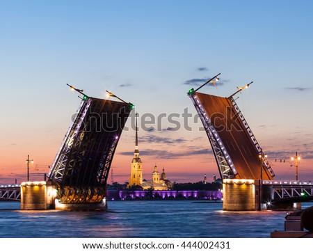 night view of Saint-Petersburg, open Palace bridge - stock photo