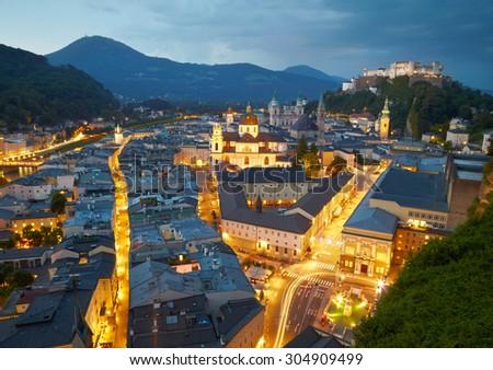Night view of Salzburg, Austria - stock photo