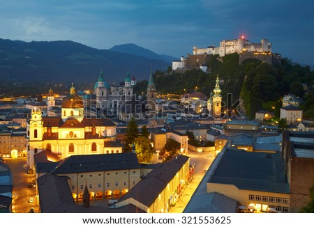 Night view of Salzburg, Austria - stock photo