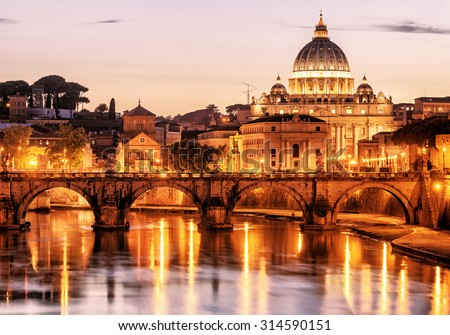 Night view of San Pietro (Saint Peter basilica) in Rome, Italy - stock photo