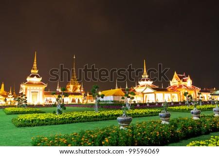 Night view of Sanam Luang and Wat Phra Kaew, Bangkok, Thailand. - stock photo