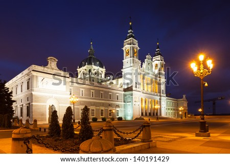Night view of Santa Maria la Real de La Almudena cathedral  in Madrid. Spain