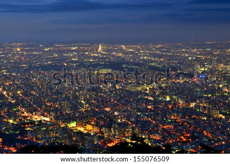Night view of Sapporo, Japan from Mt. Moiwa - stock photo
