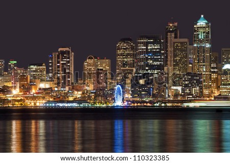 Night view of seattle downtown - stock photo