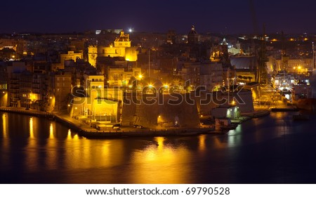 night view of  Senglea and Creeks from Valetta. Malta - stock photo