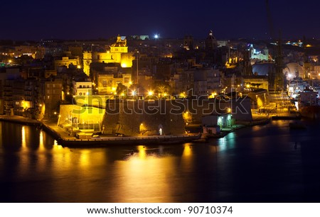 night view of Senglea town from Valetta. Malta - stock photo