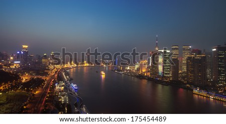 night view of Shanghai city,huangpu river side