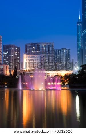 night view of shenzhen special economic zone,China - stock photo