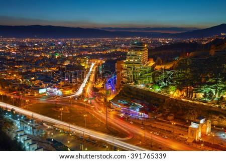 Night view of Shiraz, Iran - stock photo