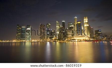 Night view of Singapore - stock photo
