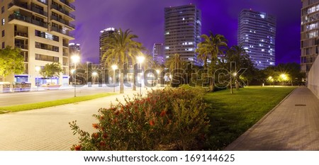 Night view of skyscrapers area. Barcelona, Spain - stock photo