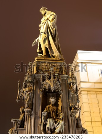 Night view of statue on the Charles Bridge in Prague, Czech Republic - stock photo