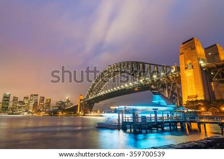 Night view of Sydney Harbour, Australia. - stock photo
