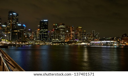 Night View of Sydney Harbour & Opera House - stock photo