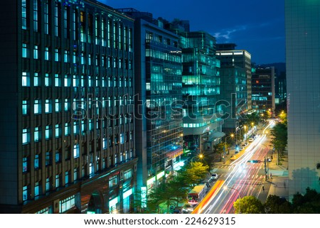 night view of taipei city, taiwan - stock photo