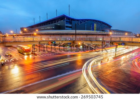 night view of Taipei Nangang Exhibition Center Station - stock photo