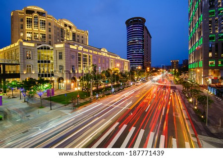 night view of Taipei with traffic trails - stock photo
