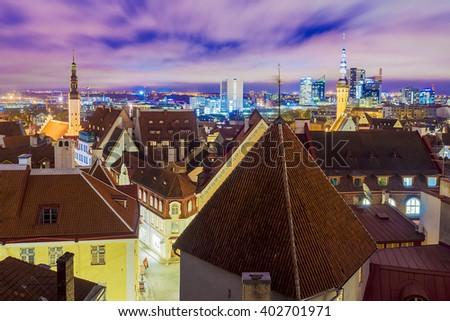 Night view of Tallinn, Estonia - stock photo