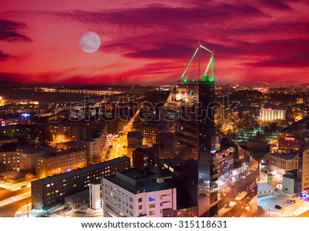 Night view of Tallinn from the highhouse - stock photo
