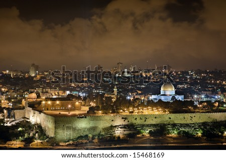 Night view of Temple Mount from the Mount of Olives, Jerusalem, Israel - stock photo