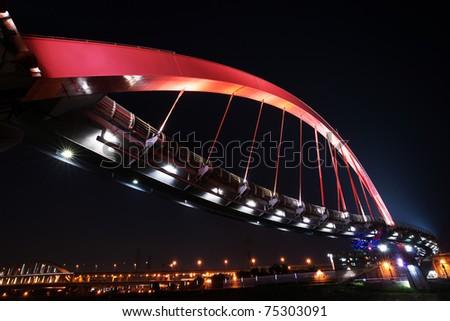 night view of the arcuate bridge - stock photo