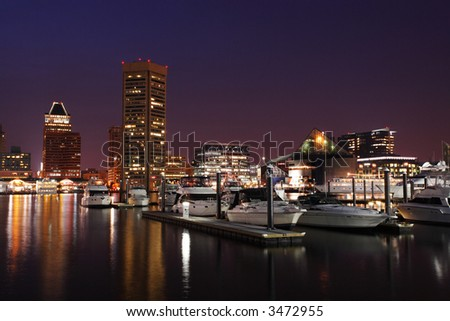 Night view of the Baltimore Inner Harbor.
