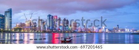 Night view of the beautiful city of Qingdao