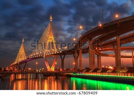 Night view of the Bhumibol II bridge (Bangkok, Thailand) - stock photo
