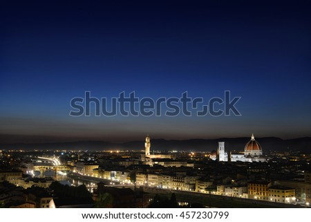 Night view of the city, Florence - stock photo