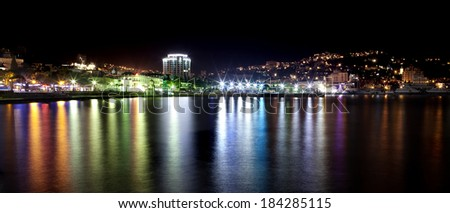 Night view of the city in Crimea