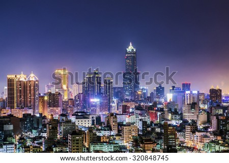 Night view of the city in Taiwan - Kaohsiung - stock photo