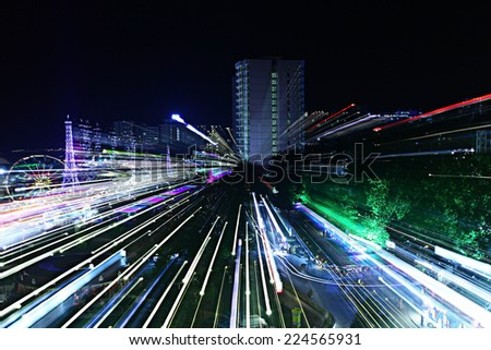 night view of the city lights of the resort - stock photo